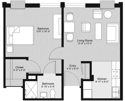 Flex One Bedroom Floorplan