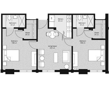 Flex two-bedroom Floorplan
