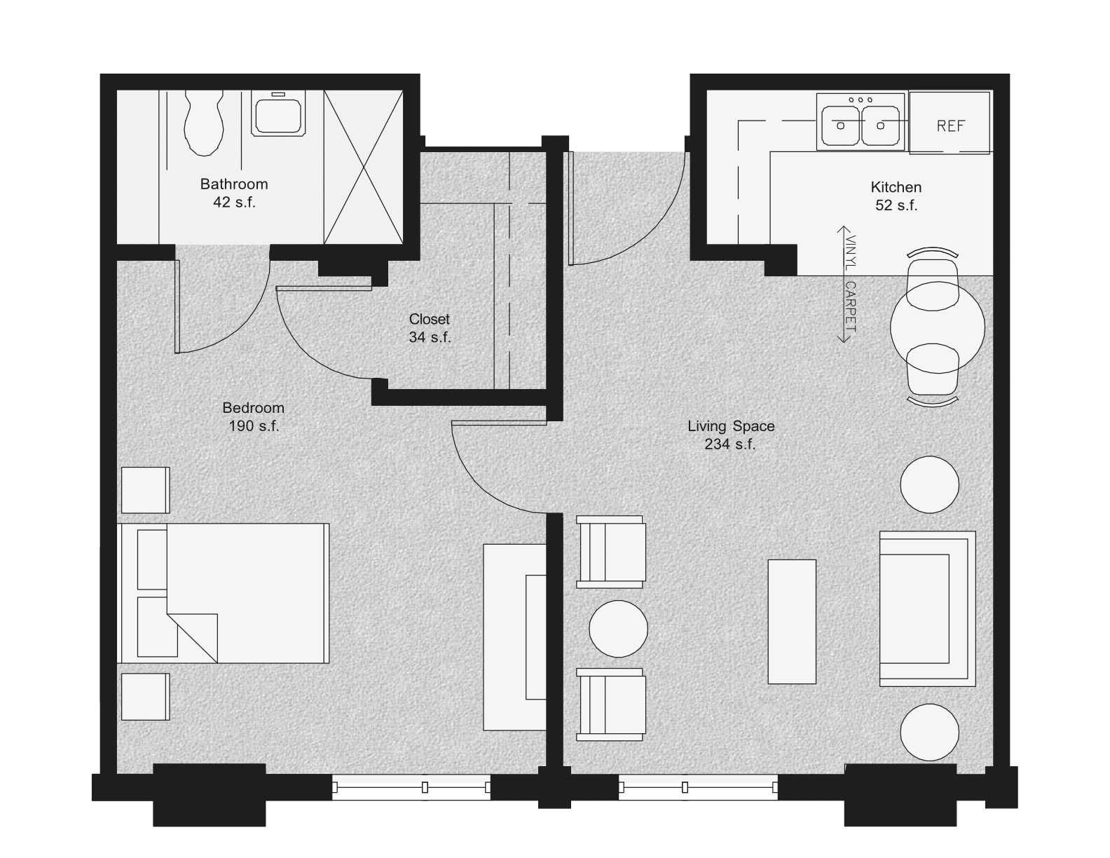 one bedroom senior living floor plan