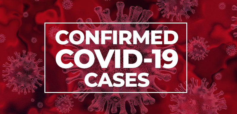 """A red background of the COVID virus with text that reads """" Confirmed COVID-19 Cases """""""