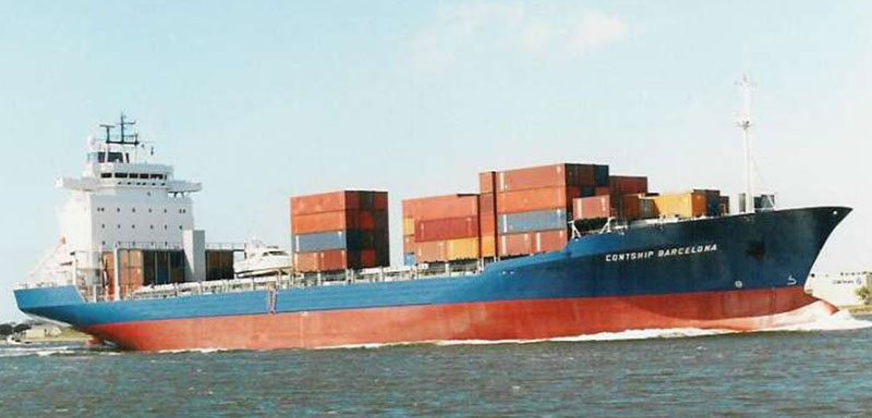 An image of the large cargo ship, Contship Barcelona, on the water