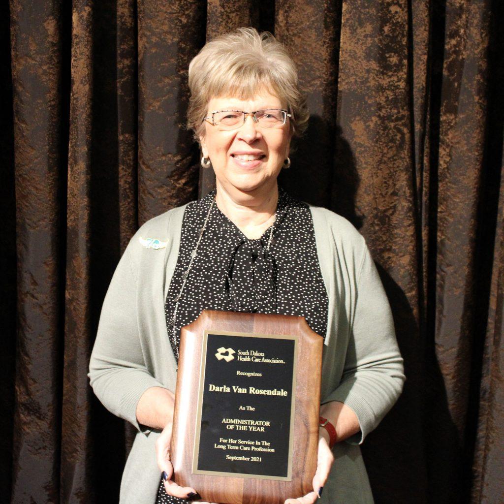 Darla Van Rosendale with Administrator of the Year Award